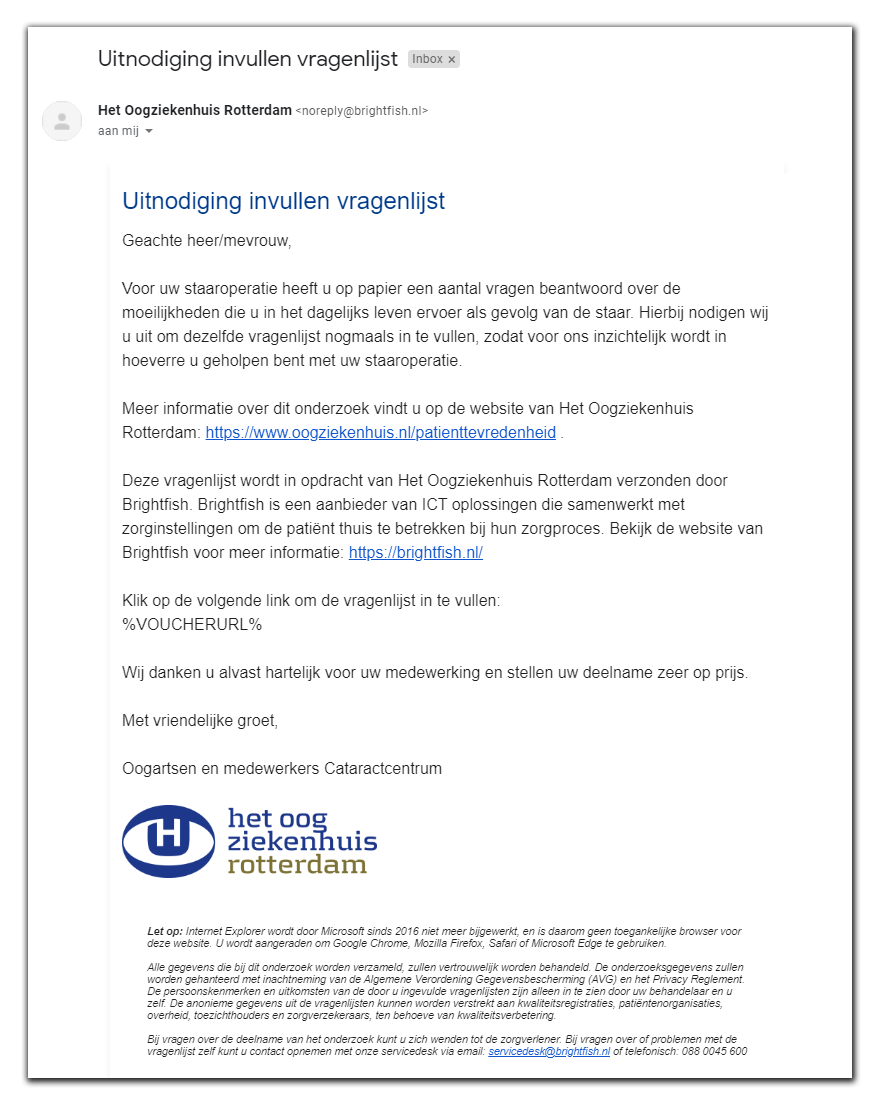 Screenshot e-mail Brightfish